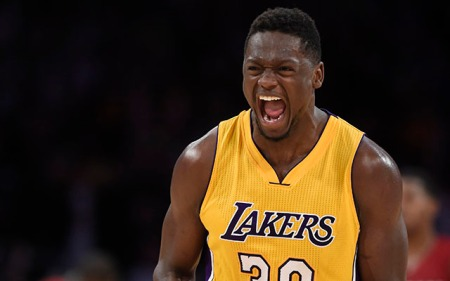 Mar 30, 2016; Los Angeles, CA, USA; Los Angeles Lakers forward Julius Randle (30) reacts after hitting game winning shot against Miami Heat during overtime at Staples Center. Mandatory Credit: Richard Mackson-USA TODAY Sports